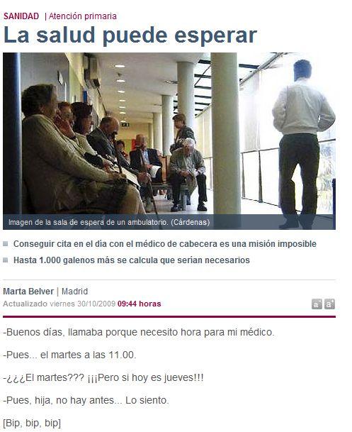 La salud puede esperar- El Mundo-Suplemento Madrid