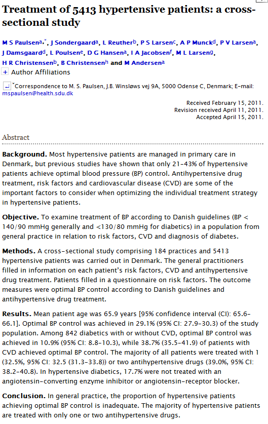 Treatment of 5413 hypertensive patients: a cross-sectional study